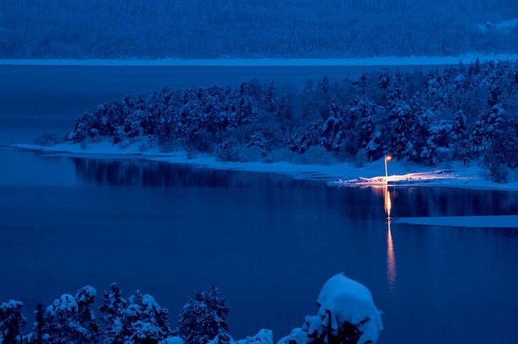 blue hour tyrifjorden norway