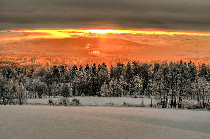 high contrast sunset norway